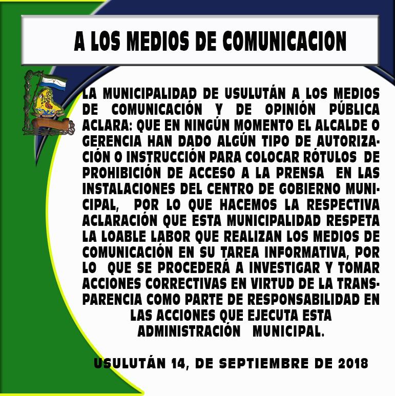 COMUNICADO A MEDIOS DE COMUNICACION