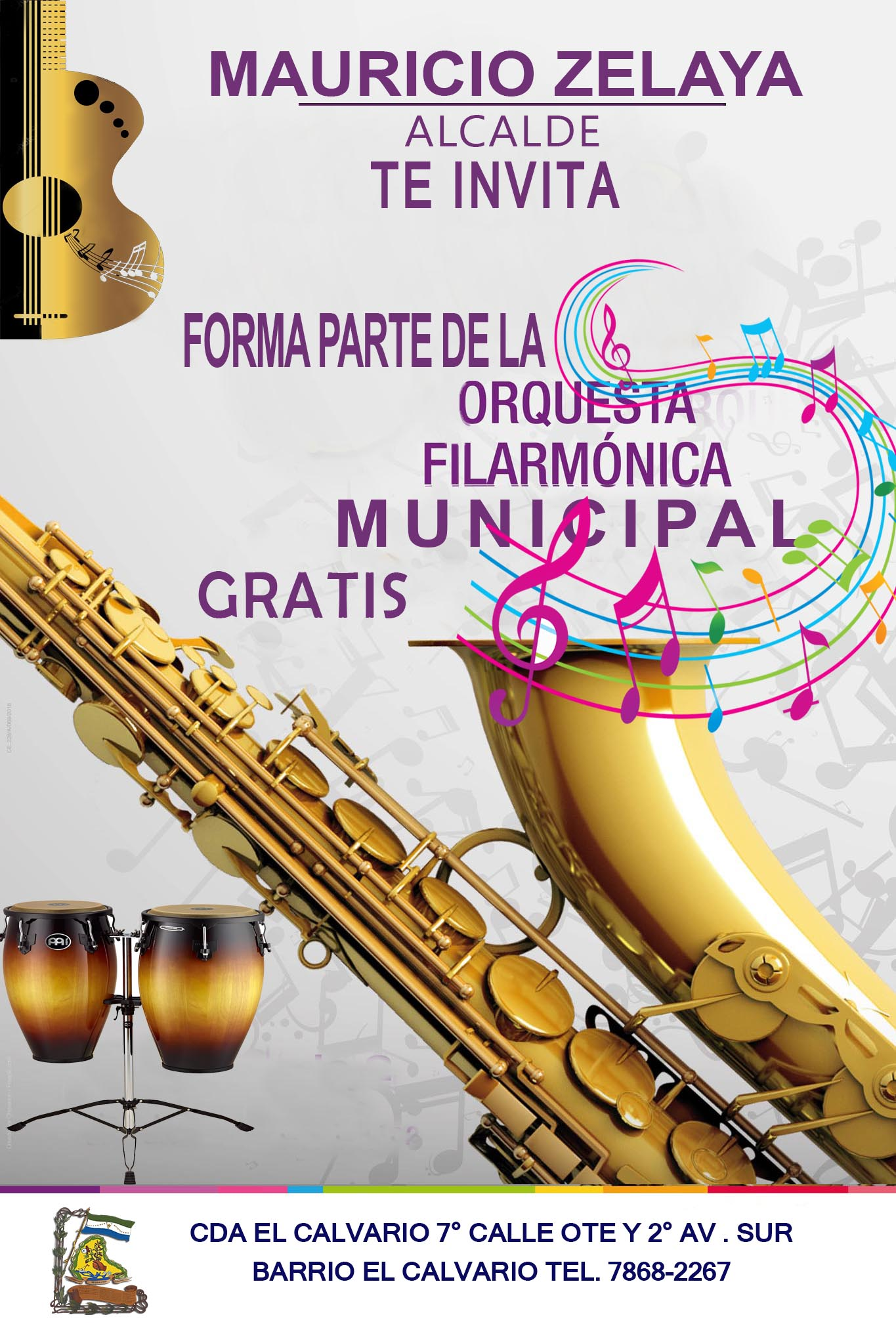 Mauricio Zelaya Alcade te invita a utilizar tu tiempo libre aprendiendo a tocar un instrumento Gratis.